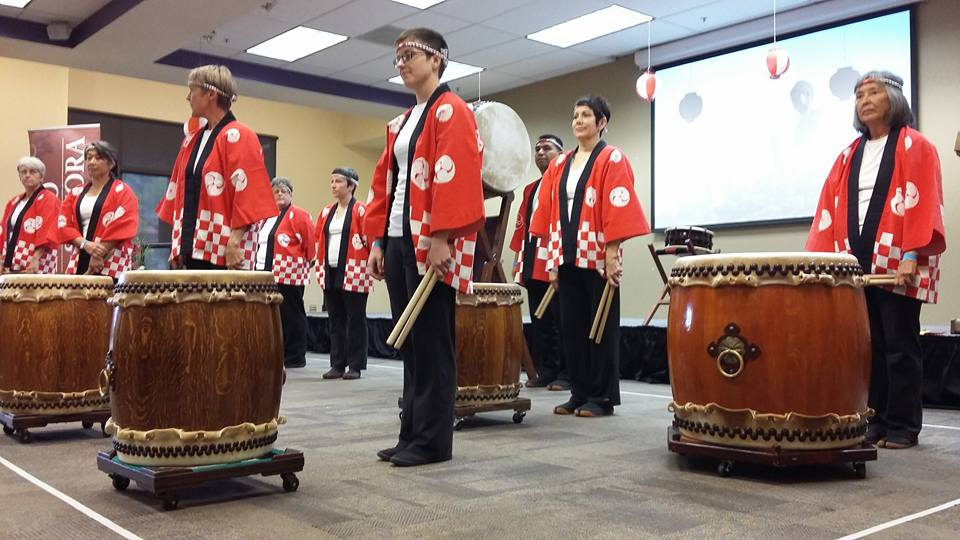 Odaiko Sonora preparing to do the welcome ceremony in Amethyst Room of PCC Downtown